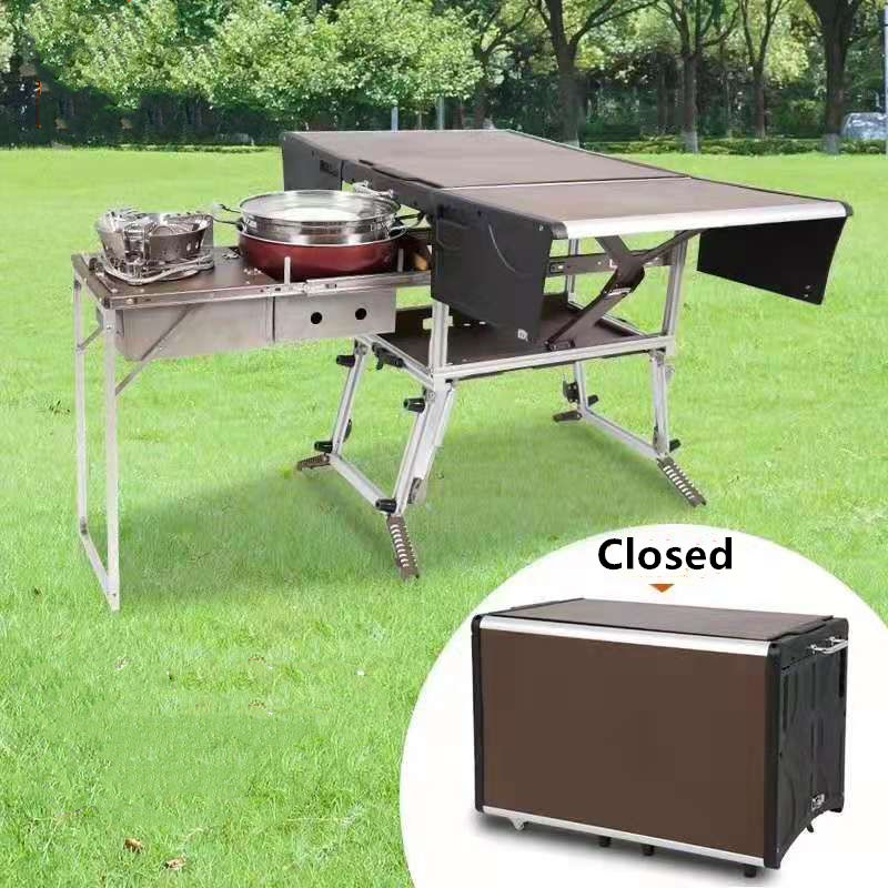 High quality lightweight metal outdoor leisure camping mobile kitchen aluminium portable folding picnic table