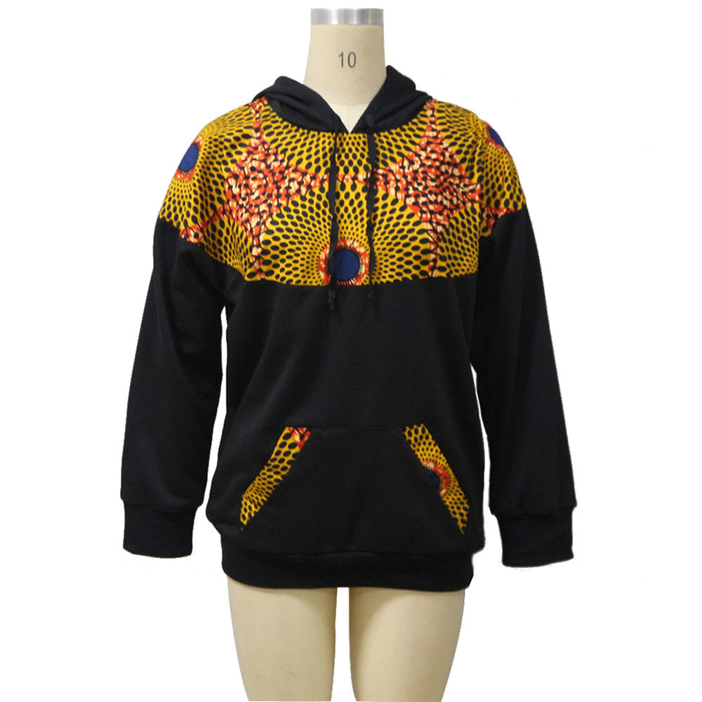 Fashion new design ladies hoodie cotton sweater with ankara design casual women hoodies wholesale