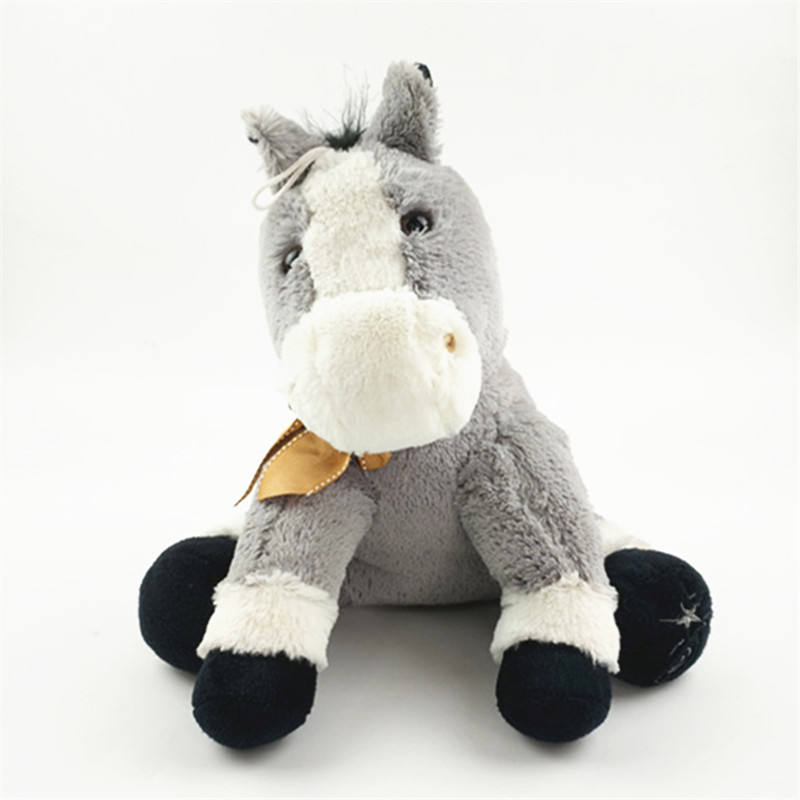 custom gift factory customized 25cm grey sitting stuffed donkey toy with brown bow