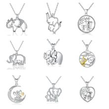 925 Sterling Silver Rhodium Plated jewelry Lucky elephant pendant necklace for Women