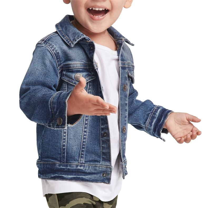 Custom boys high quality starter blue jean denim jackets for kids