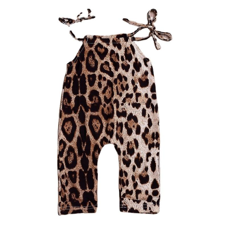 Factory direct approval of foreign trade hot sale explosion models boys and girls leopard sleeveless jumpsuit baby romper