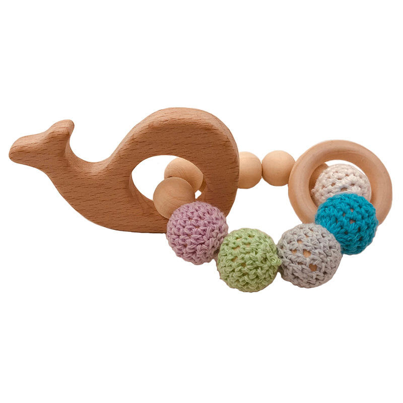 High quality eco friendly BPA free rattles fabric beads baby teether set