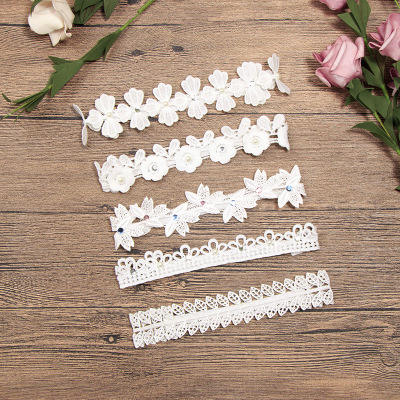 Baby Infant Luxury White Lace Headbands Girl Wedding Hairbands Korean Crocheted Hollow Crown Christmas Lady Style Party Gift