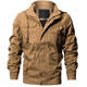 Men's Casual Winter Cotton Military Jackets Outdoor Full Zip Army Coat