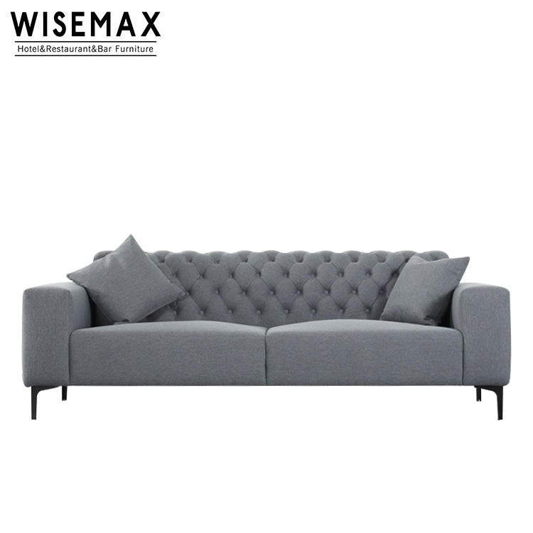 Home Furniture Modern Iron Legs 3 Seater Fabric Sofa Couch Velour Fabric Living Room Sofas