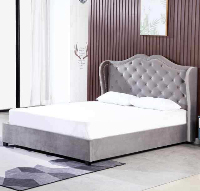 Modern bed room furniture queen size upholstered velvet bed