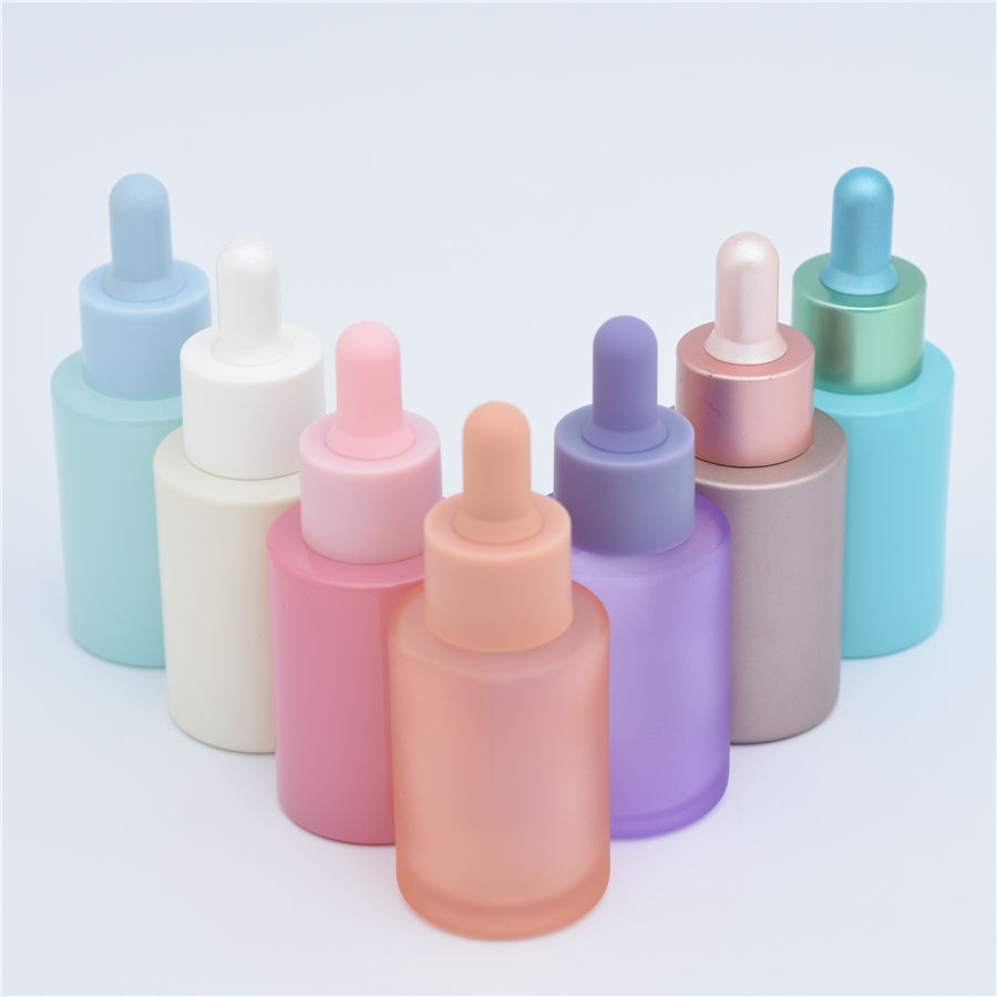 Screen Printing 30ml Flat Shoulder Frosted Pink Yellow Purple Skin Care Serum Bottles