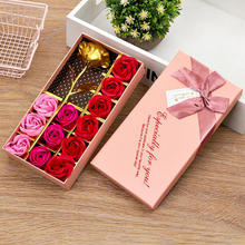 2020 Creative Gift 12PCS Roses Soap Flowers Valentine's Day Gold Leaf Rose Top Quality Best Selling Wedding Party Giveaways