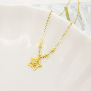 New Arrival 18K Solid Gold Lucky Star Necklace  Fashion Star Charm Pendant Real 18K Yellow Gold Star Necklace Jewelry