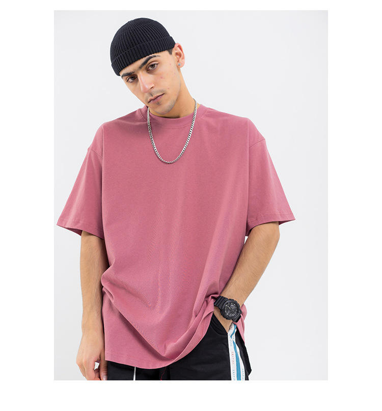 J&M OEM 100 Cotton T-shirts Manufacturers Solid Color Heavy Short SLeeve T Shirt Oversized Mens Basic Tee