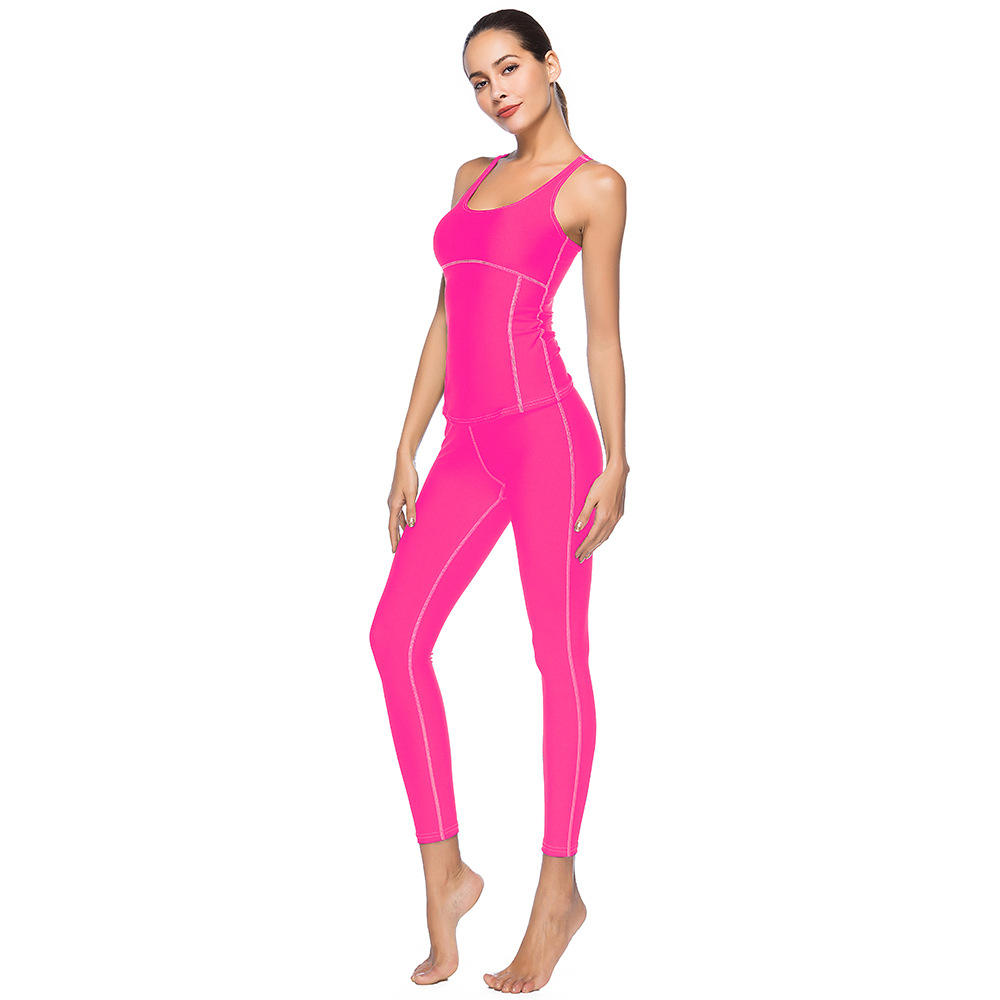 Yoga Set Gym Clothing Tracksuit For Women Workout Active Wear 2 Pieces Solid Clothes Sports Suit