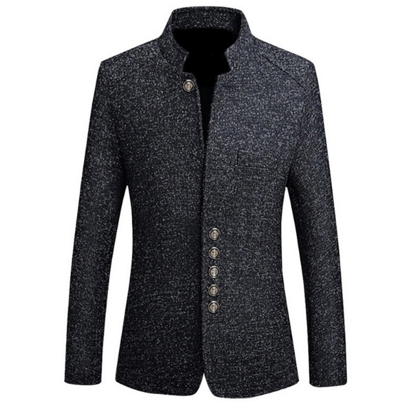 Men Suit Jacket Solid Mandarin Collar Slim Fit Tuxedo Men Blazer Jacket Autumn Winter Casual Blazer Men Coat Plus Size