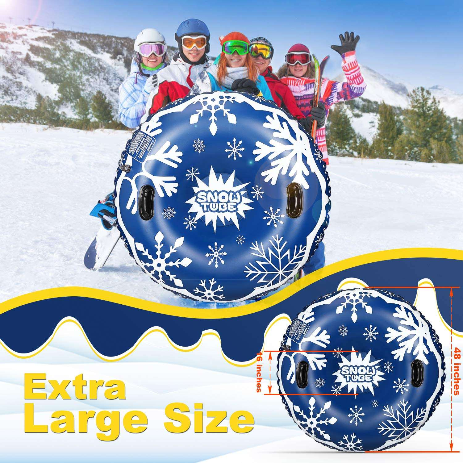 LC New Winter Fun Toys Heavy Duty Inflatable Snow Sleigh Tube Air Tube Inflatable Snow Sled for Kids and Adults