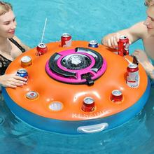 swimming pool summer beverage boat cup holder inflatable drink holder with speaker