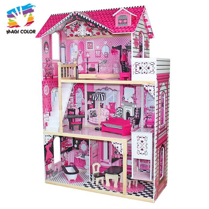 Ready To Ship pink wooden simulation baby doll house with low price W06A101