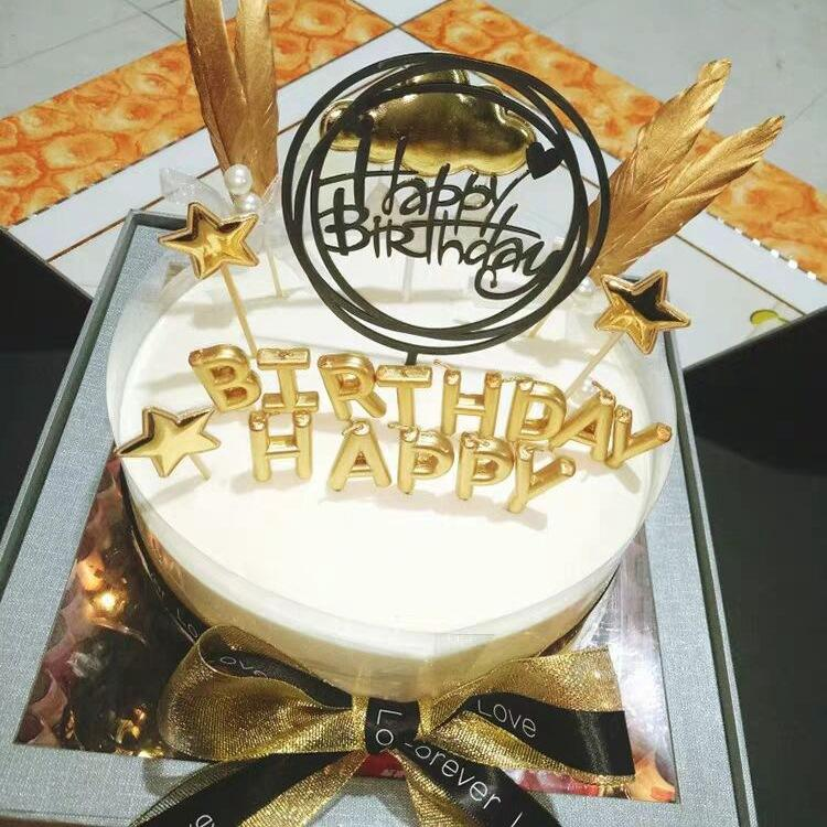 Happy birthday letter gold candle for cake creative birthday candle paraffin wax
