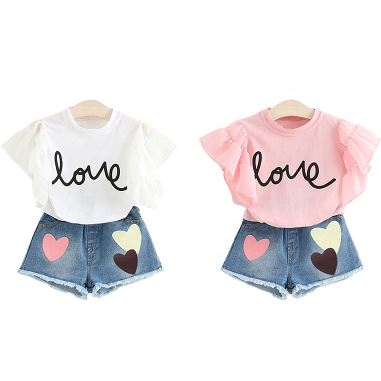 SS-523G short sleeve top and shorts branded kids clothes girls summer kids set children clothing set