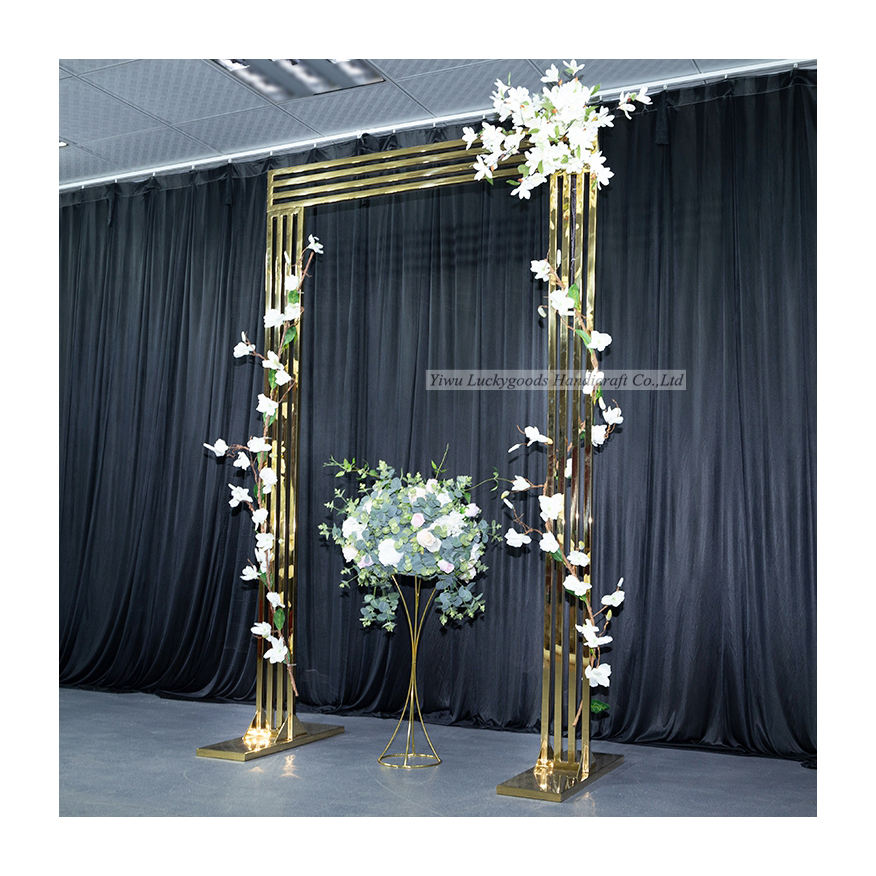 LDJ1074 Custom made gold square shape stainless steel metal arch for wedding walkway stage decoration