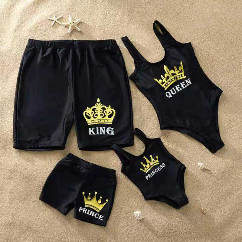 2020 Family Matching Men Shorts Badeanzug Einteiler Frauen Kid Boy Baby Girl Bade bekleidung Boy Swim Trunk Princess Black Badeanzug OEM