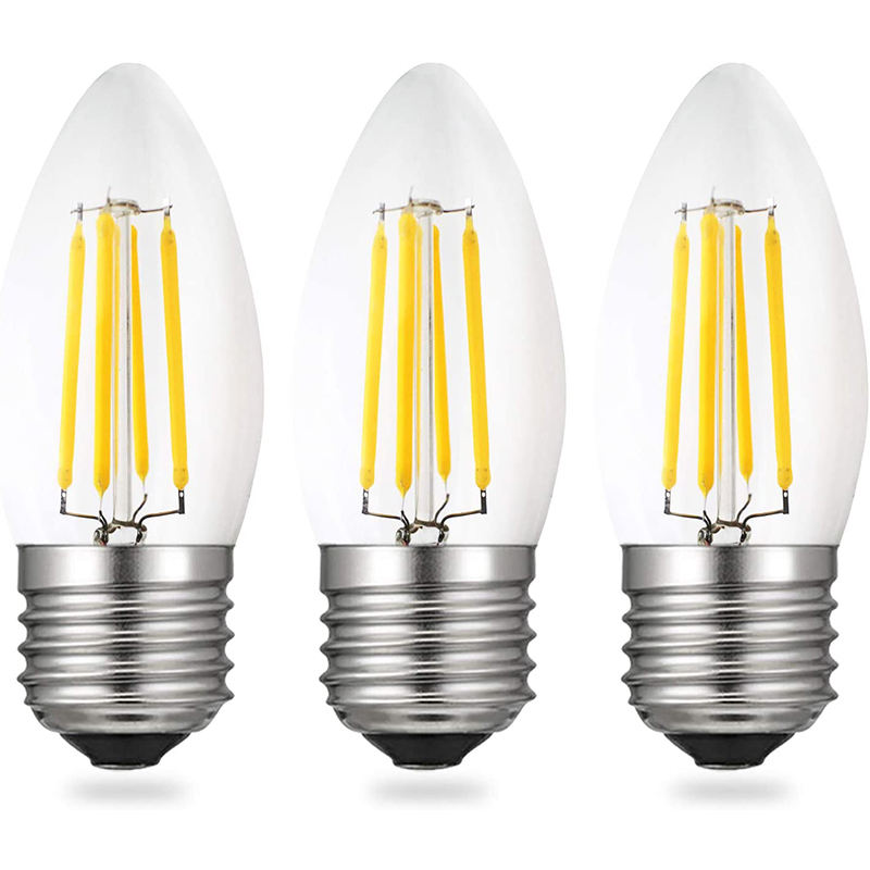 Worbest Dimmable 4W AC 120V LED Filament Light Candle Bulbs C35, Cool White 2700 Kelvin E26 Base Lamp Bulbs