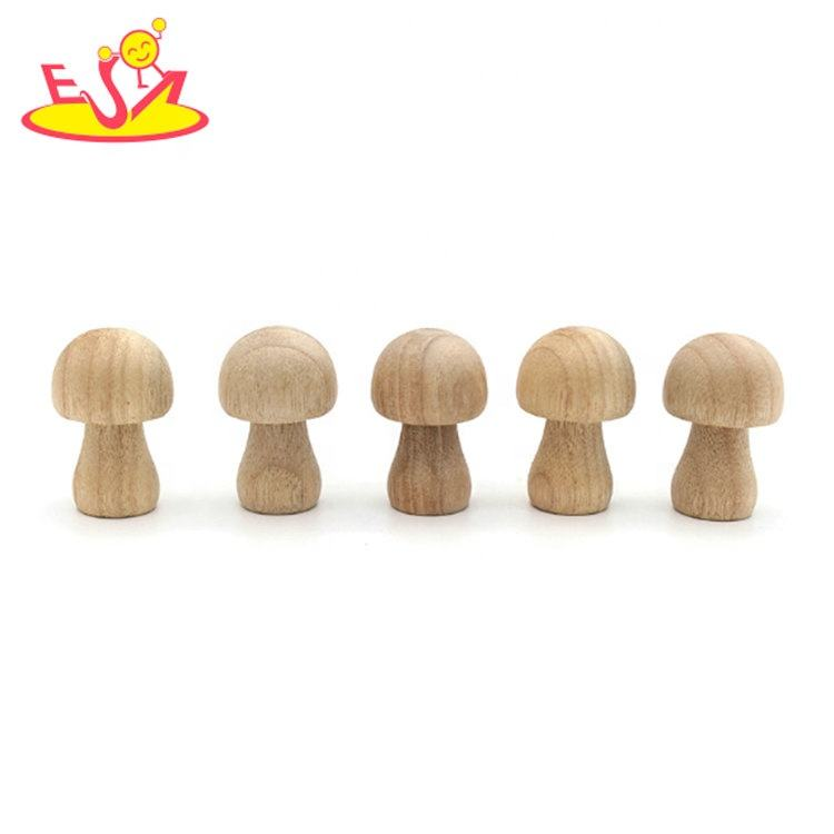 Wooden home decoration unfinished DIY wooden color custom wooden mushrooms crafts W18A074