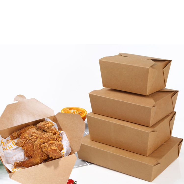 Disposable Meal Containers Kraft Paper Food Packaging Box Delivery Take Away Fried Fast Food Boxes