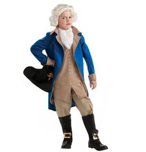 Onbest China wholesale blue president George Washington cosplay Halloween&Carnival career costume with wig for kids