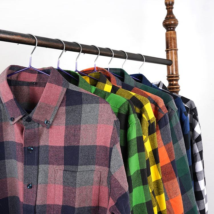 Flannel Shirts For Men Custom Color Long Sleeve Yarn Dyed Cotton Woven Button Up Flannel Plaid Shirt For Men