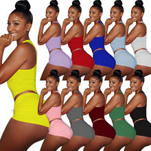 FM-3147 Women's shorts summer solid color Two Piece Set booty yoga shorts women