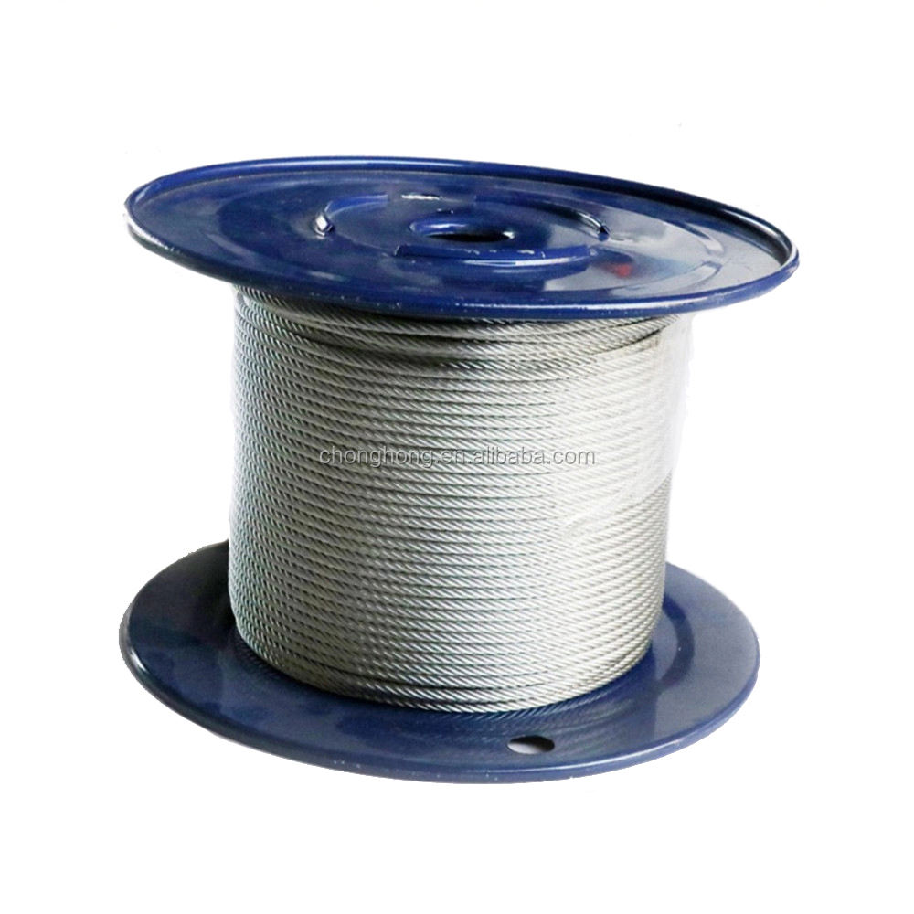 "3/32"" 6x7+FC 500 Meters / reel Galvanized Aircraft Cable Steel Wire Rope"
