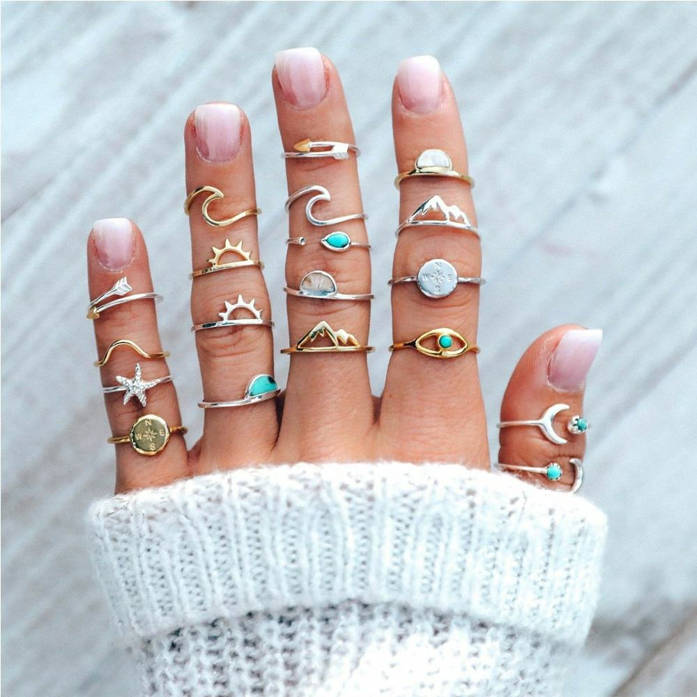 20pcs/set Women Rings Set Compass Arrow Starfish Wave Moon Eyes Gem Gold Silver Color Opening Ring