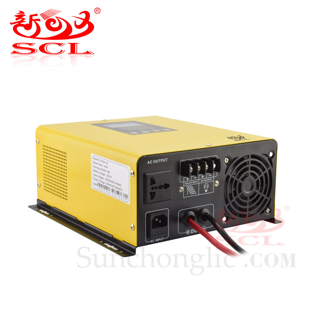 Inverter 12v 220v Sunchonglic 1KW 12V DC To 220V With 20A Charger And PWM Controller 30A AC Pure Sine Wave 1000W Hybrid Solar Inverter