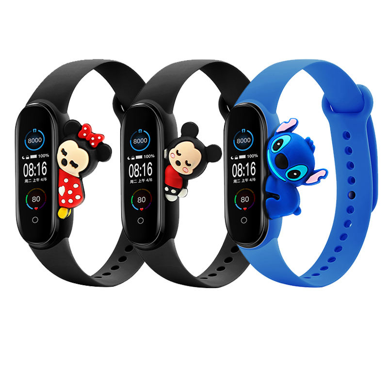 BOORUI 3D Cartoon Mi band 5 strap Silicone Cute lovely replacement band for xiaomi mi band 5 bracelets with fashional toys