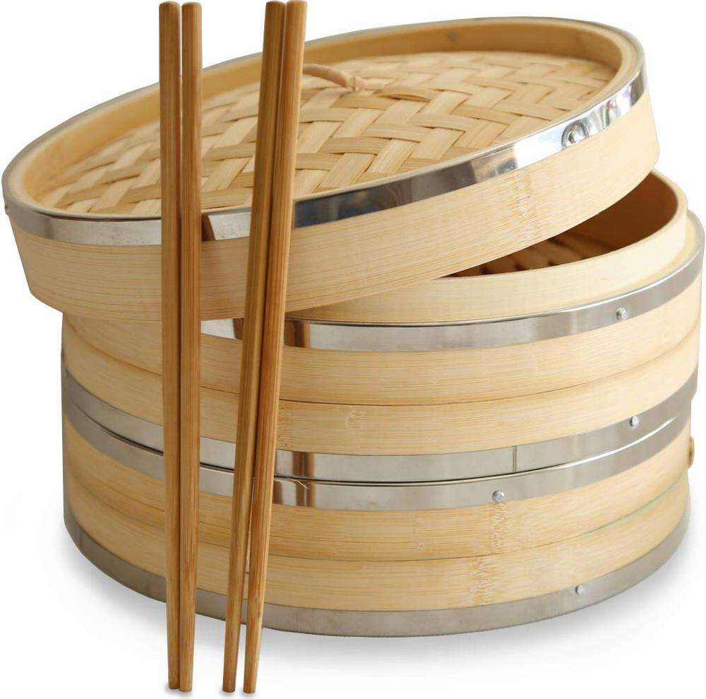 10 Inch Premium Organic Bamboo Steamer Basket Mini 2-Tier bamboo steamer with Lid