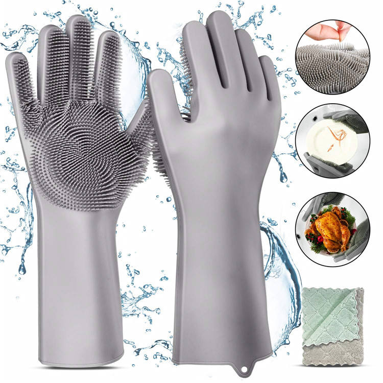SHQN Soft And Flexible Premium High Elasticity Waterproof Non-slip Thickness Silicone Rubber Gloves With Wash Scrubber