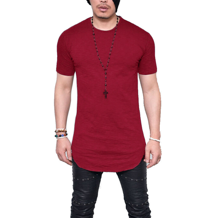 Longline Tee for man short sleeve cotton men tall tee sporty t-shirts Longbody T shirt tall tee