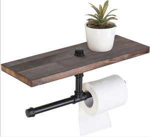 Industrial Style Wood Wall Mounted Pipe Toilet Paper Holder with Shelf