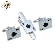 Custom cheap high quality poker A shaped cuff links and tie clips