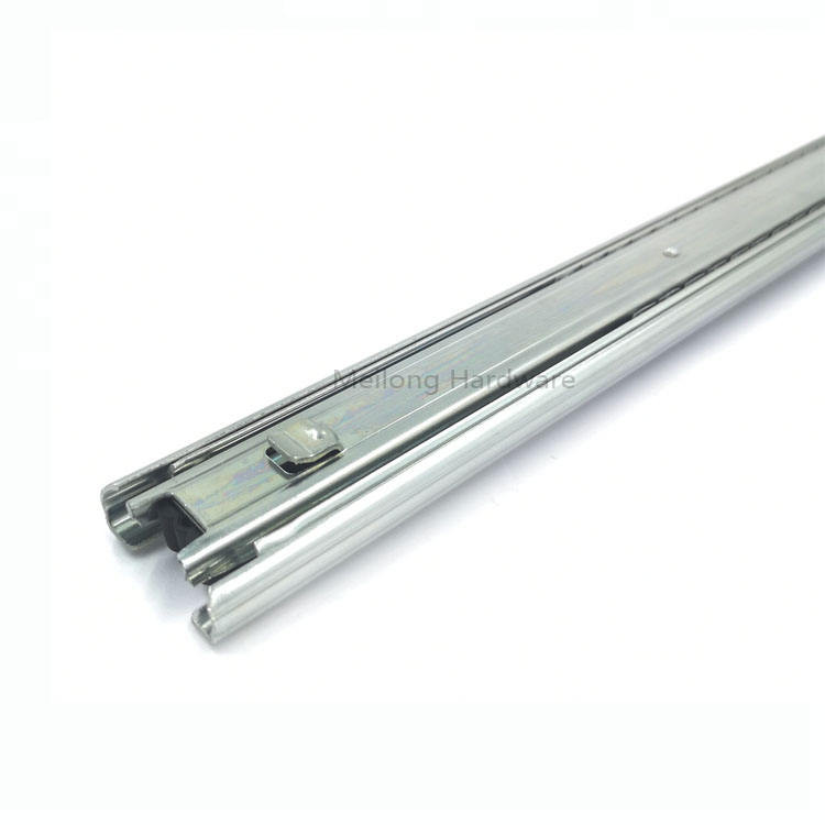 45mm 3 Folds Steel Ball Bearing Drawer Slide Telescopic Channel With Hook