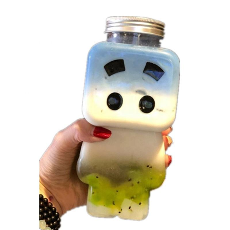 500ml Clear BPA Robot Shape Pet Plastic Bottle Cold Press Juice Beverage Drinking Water Biodegradable Juice Beverage Bottle