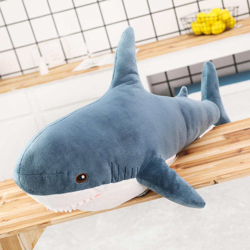 Dropshipping 1 pcs ins 15-140cm Shark Plush Toy Sleeping Pillow Travel Companion Toy Gift Shark Cute Stuffed Animal Fish Pillow