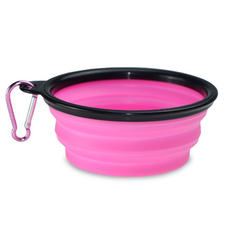 Colorful bowl collapsible dog cat bowl Camping/Hiking/Walking Bowl with Carabiner Clip
