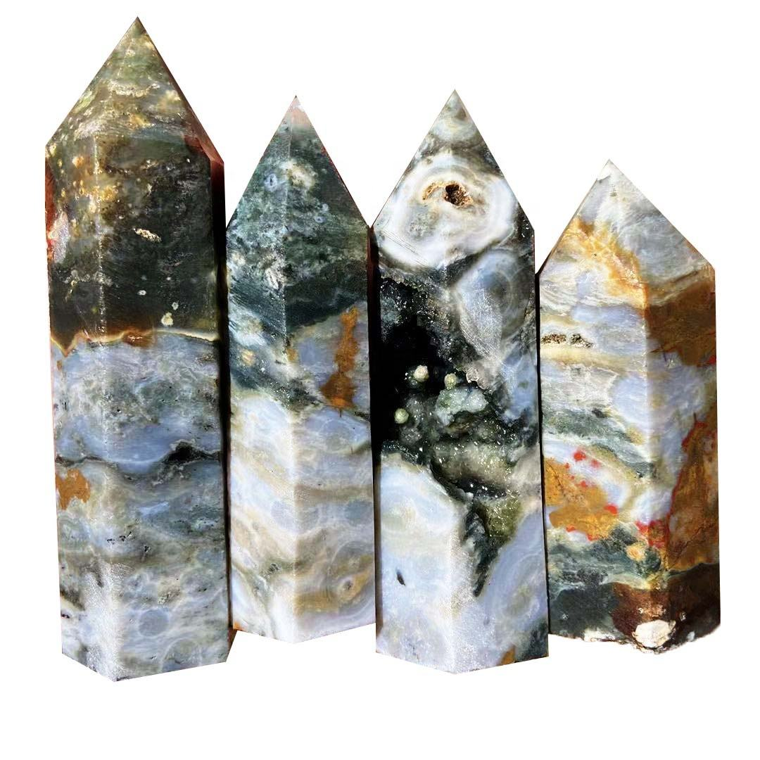 Wholesale Natural Old Material Crystal Geode Ocean Jasper Point Crystal Tower for Decoration
