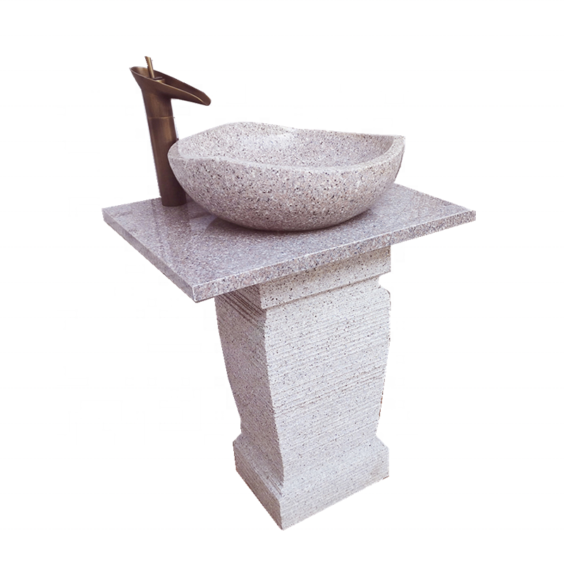 G681 Sunset pink Granite Pedestal basin sink for project