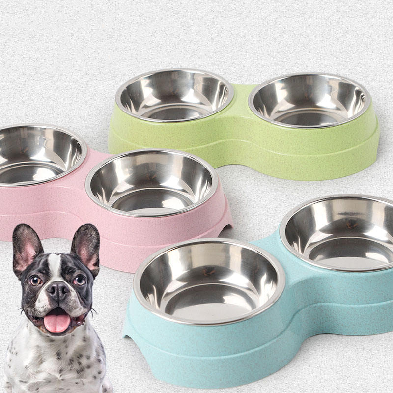 Dropshipping Double Pet Bowls Dog Food Water Feeder Stainless Steel Pet Drinking Dish Feeder Cat Puppy Feeding Supplies