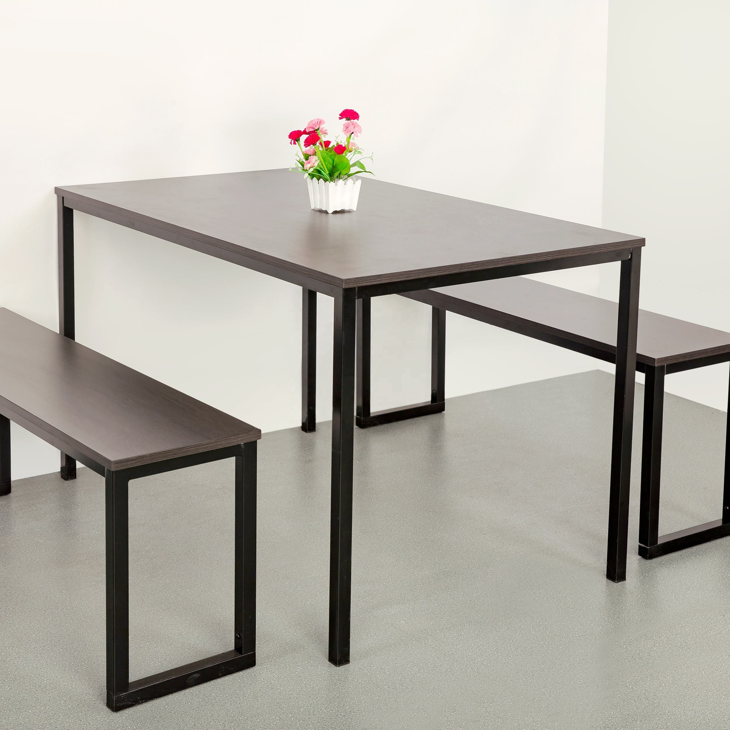 Modern Dining Room Furniture Metal Mdf Dinner Chair And Table Set