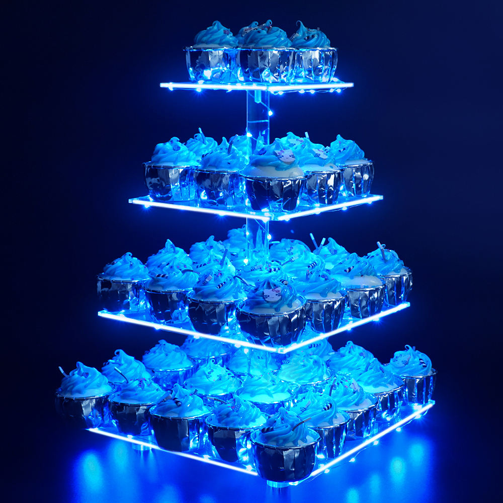 VONVIK 4/5 Tier Square Acrylic Cupcake Stand With LED Light and Base,Acrylic Cake Stand for Wedding Birthday Party