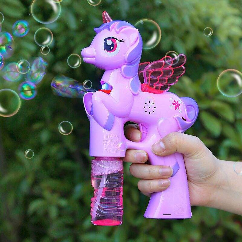 Bubble Light Up LED Music Bubble Shooter Blower,Unicorn bubble gun Toy