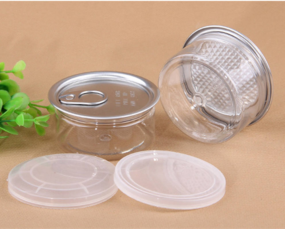 Plastic easy open tin can 100ml clear pull ring with Plastic Cover Lid for dried fruit / peanuts clear pet jar/food can